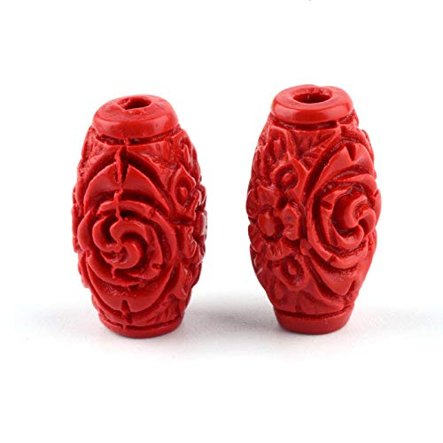 50pcs Unique Resin Cinnabar Beads Barrel Carved Loose Spacers FireBrick 17.5mm