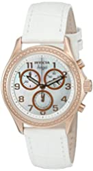 Invicta Women's 'Angel' Swiss Quartz Stainless Steel and White Leather Casual Watch (Model: 12991)