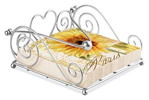 Sunflower Yellow Script Embossed 20 X 3 Ply Paper Napkins & Silver Swirl Heart Napkin Holder Set
