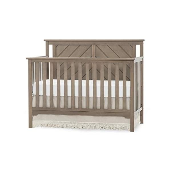 Forever Eclectic Hampton Flat-Top 4-in-1 Convertible Baby Crib, Flat Top, Dusty Heather