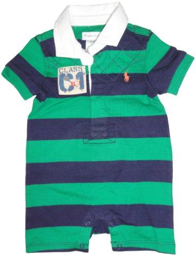 Ralph Lauren Polo Infant Boys Short Sleeve Rugby Romper Navy/Green, 3 Months