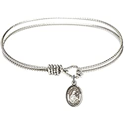 St. Gertrude of Nivelles-7 1/4 inch Oval Eye Hook Bangle Bracelet with a St. Gertrude of Nivelles charm.-Saint Gertrude of Nivelles is the patron saint of Accommodations/Cats. Memorial Day March 17th.-Accommodations/Cats