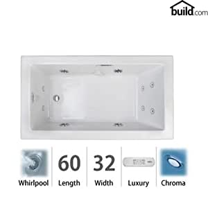 Jacuzzi ell6032wlr4ch elara low profile 60 x 32 acrylic for Low profile bath tubs