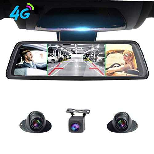 ShiZhen 360°Panoramic 10'' Full Screen 4G Touch IPS Special Car Dash Cam Rear View Reversing Mirror with GPS Navi Bluetooth WiFi Remote Monitoring Android 5.1 FHD 1080P 4CH Cameras Lens
