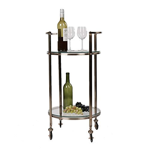 - Mind Reader 2TCARB-CLR 2 Tier, Metal, Portable Bar, Mobile Pushing Cart, Glass Top Gold Finish, Clear, One Size
