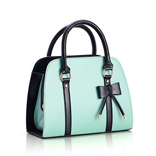 YOURNELO Women's Lady Handbag Little Bow Leisure Shoulder Bag Purse (Mint Green)
