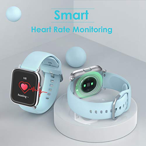 HolyHigh Smart Watch Support Customize Time Face, Waterproof Fitness Tracker with Blood Oxygen/Heart Rate/Sleep Monitor Touchscreen Fitness Watch 18 Sport Modes Smartwatch with Swimming Recorder Activity Tracker Watch with Compass For Men Boys Women Ladies