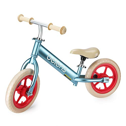 Balance Bike for Kids, 12 Inch No Pedal Kids Bicycle for 2-5 Years Old, Toddler Walking Bicycle, Adjustable Height, Anti-Vibration Structure, Made of Aluminium Alloy, Indoor Outdoor Activities