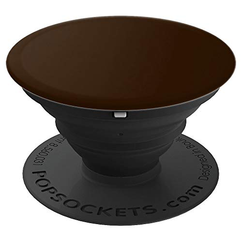 Chocolate plain solid Hue color, Hickory, Pecan, Syrup - PopSockets Grip and Stand for Phones and Tablets (Pecan Solid)