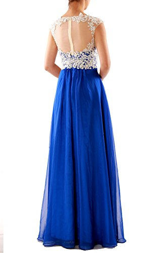 MACloth Women Cap Sleeve Lace Chiffon Long Prom Dress Wedding Party Formal Gown Verde Oscuro
