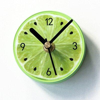 (Besplore Magnetic Fridge/Kitchen Clock,Fruit Lemon Clock,Mini Silent,Green)