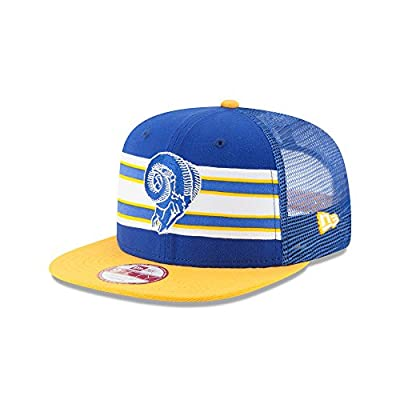 New Era 9Fifty Hat Los Angeles Rams Throwback Stripe Official Team Trucker Cap