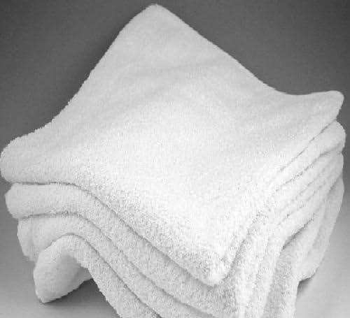 60 new white 100/% cotton washcloths cam border hotel motel facial barber 12x12