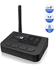 SZMDLX Bluetooth Transmitter Receiver, Long Range Bluetooth 5.0 Audio Adapter with Volume Control, Dual Stream, aptX Low Latency, aptX HD, Optical RCA AUX 3.5mm for TV Home Stereo PC Headphones