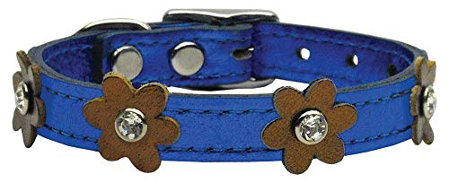 "Mirage Pet Products 83-08 14BlM-Bz Flower Leather Dog Collar, 14"", Blue/Bronze"