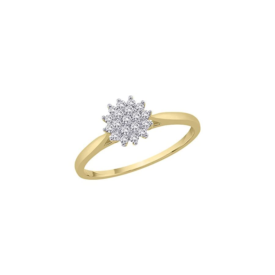 Diamond Floral Ring in 10K Yellow Gold (1/6 cttw, Color GH, Clarity I2 I3)