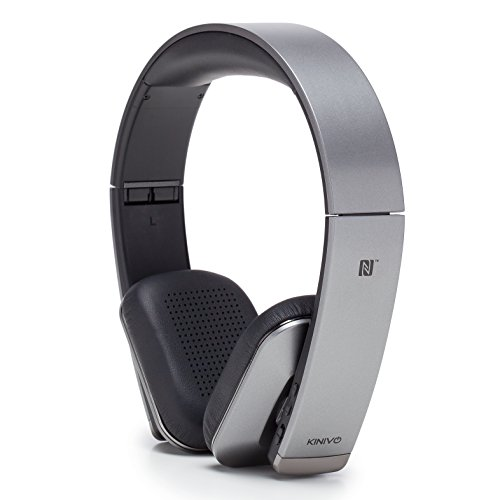 Kinivo URBN Premium Bluetooth Wireless Headphones - NFC Pairing, Powerful AptX HD Sound, Wireless Audio Streaming and Hands-Free Calling for Devices Like iPads, iPhones, Android (Graphite Grey)