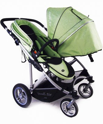 Stroll-Air My DUO Twin Baby Stroller WITH Bassinet- Green