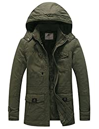 WenVen Men's Hooded Military Jacket Winter Fleece Parka Coat