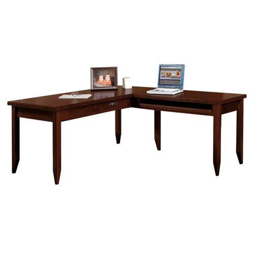 Martin Furniture Kathy Ireland Tribeca Loft Reversible Burnt Umber Cherry L-Shaped Table Desk