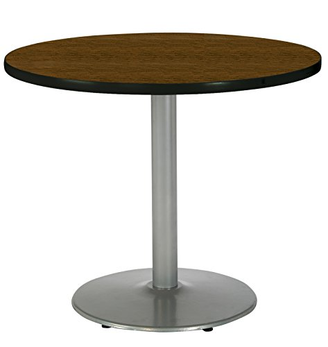KFI Seating Round Pedestal Table with Round Silver Base, Commercial Grade, 36-Inch, Walnut Laminate, Made in the USA by KFI Seating