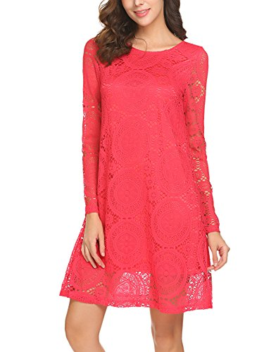 Unibelle Round Neck Long Sleeve Lace A-Line Dress (Heels T-shirt Sheer)