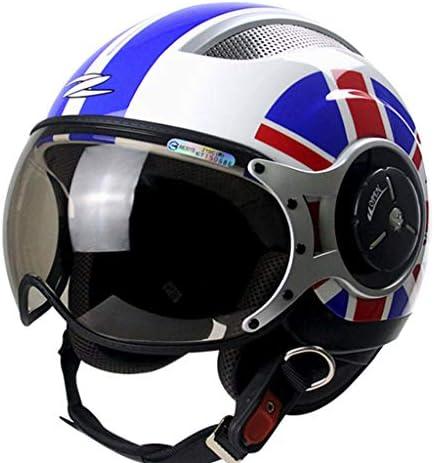 NJ ヘルメット- オートバイのヘルメット男性と女性の四季半分覆われた茶色の樹脂レンズヘルメット (色 : Blue white, サイズ さいず : Xl xl)