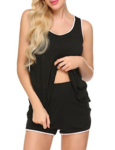 Ekouaer Sleepwear for Women Plus Size Tank Top & Short Pajama PJS, Black, XX-Large by Ekouaer