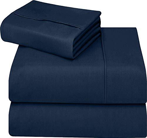 Utopia Bedding 3-Piece Twin Bed Sheet Set - Soft Brushed Microfiber Wrinkle Fade and Stain Resistant - Navy