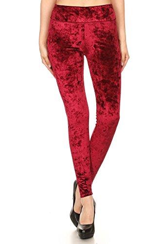 Shosho Womens Shiny Crushed Velvet Leggings Pants With Pockets Burgundy ()