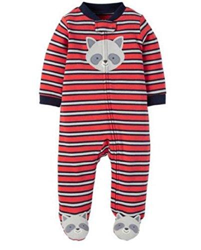 Child of Mine Boy Sleeper Preemie Size Footed (Preemie, Orange Raccoon Stripe) ()