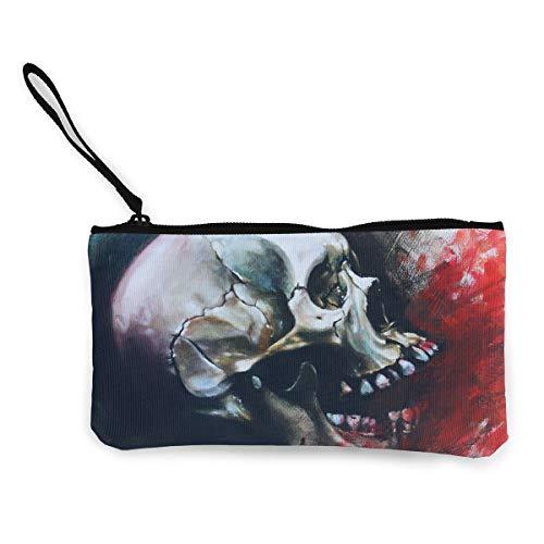 Oomato Canvas Coin Purse Oil Skull Watercolor Cosmetic Makeup Storage Wallet Clutch Purse Pencil Bag]()