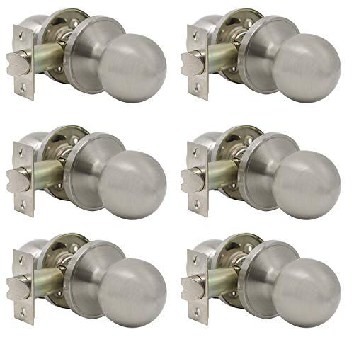 Probrico Round Passage Door Knobs Handles for Hall/Closet Lock Brushed Nickel Leverset 6 Pack