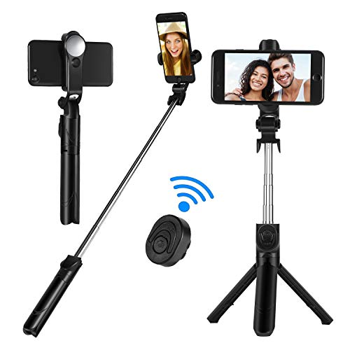 Selfie Stick Tripod Bluetooth, Sefitopher Mirror Portable Extendable Monopod with Wireless Remote Shutter 360° Rotatable Phone Holder for iPhone X/8/8 plus/7/6S/6/XS max, Samsung Galaxy Note S6/7/8/9