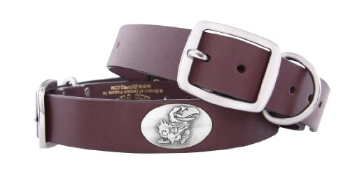 ZEP-PRO Brown Leather Concho Pet Collar, Kansas Jayhawks, Large ()