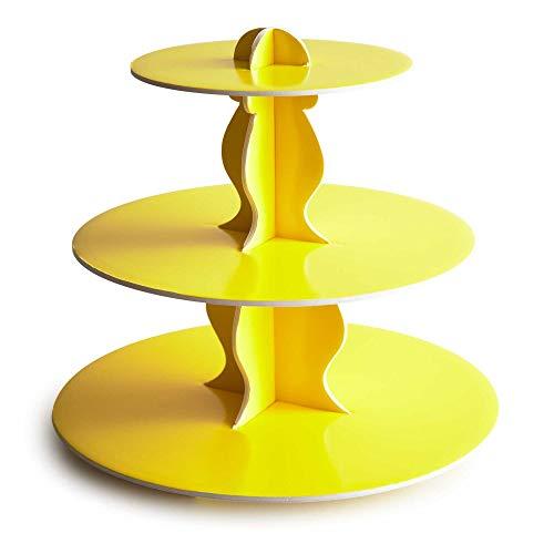 Cakegirls Cupcake Stand Chevron (Reversible) - 3-Tier Paper Cardboard (Yellow) Baby Shower Birthday Wedding Party Macaron Tower Display ()