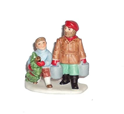 1997 Geo Z Lefton 11279 Colonial Village Mark And Jr Getting Christmas Tree Figurine