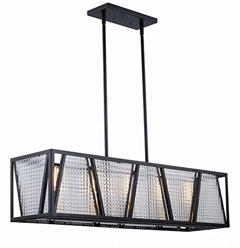 Vaxcel H0224 Oslo - Five Light Linear Chandelier, Black/Natural Brass Finish with Checkered Glass