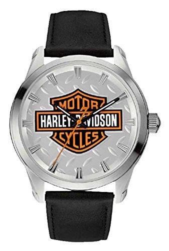 Harley-Davidson Men's Diamond Plate Bar & Shield Watch, Stainless Steel 76A145