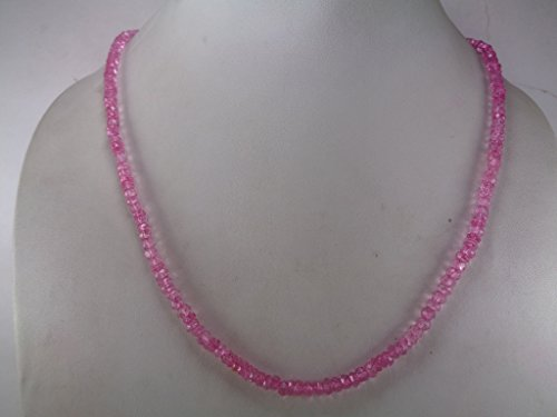 Genuine Pink Topaz Rondelle Faceted Beads Necklace, 18 Inches Necklace, November Birthstone Jewelry
