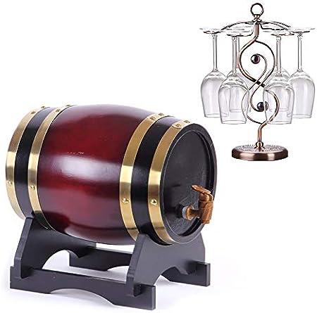 Barril de Roble Barril de Madera de Roble Roble Vintage Dispensador con Soporte de Madera for almacenar Cerveza, Vino Blanco, Brandy Vino, Cerveza, Sidra, Whisky. (Color : C, Size : 5L)