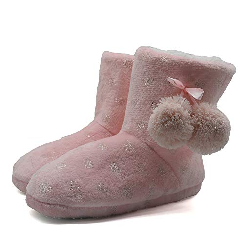 ONCAI Fluffy Faux Fur Slipper Boots Women Soft Cozy Memory Foam Midcalf Booties Indoor House Pull on Shoes (7-8 M US, wPink)