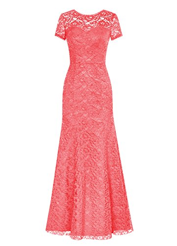 Dresstells Long Lace Bridesmaid Dress Short Sleeved Evening Party Dress Coral Size 6