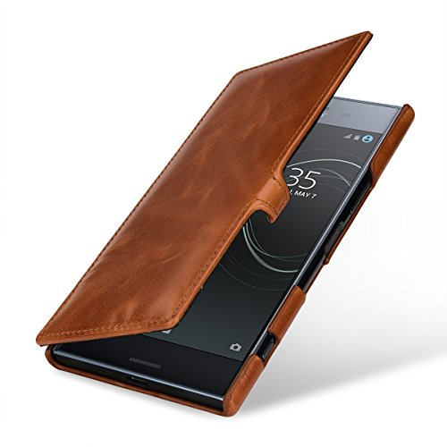 StilGut Genuine Leather Flip Case for Sony Xperia XZ Premium, Book Type Cover with Clip, Cognac Brown (Cognac Premium)