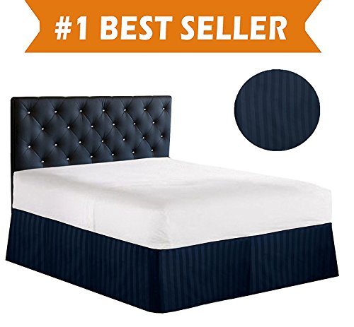 Luxury Bed Skirt on Amazon! Celine Linen Luxury 1500 Thread Count Wrinkle Resistant Egyptian Quality STRIPE Bed Skirt / Dust Ruffle - Pleated Tailored 14inch Drop, King, Navy Blue - Inverted Pleat Curtains