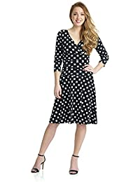Womens Slimming 3/4 Sleeve Fit-and-Flare Crossover Tummy Control Dress