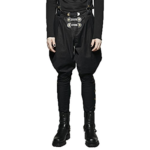 Punk Rave Victorian Dress Pants for Men Baggy Gothic Bib Cotton Overalls Steampunk Long Trousers