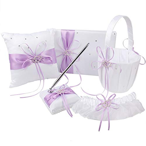 (KANECH 5pcs Sets-Light Purple Satin-Wedding Flower Girl Basket and Ring Bearer Pillow Set (Ring Pillow + Flower Girl Basket + Wedding Guest Book +Pen Set + Garter Cover))