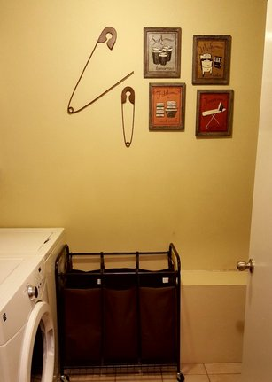 Set of 2 Large Hanging Safety Pins Rustic Color Laundry Room Wall ...