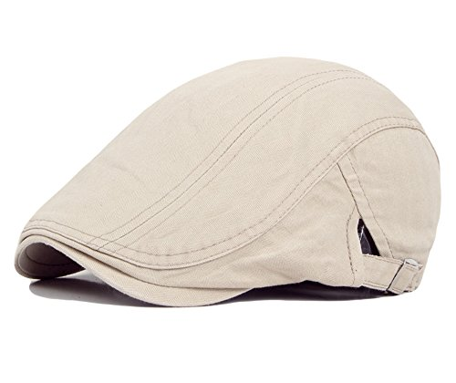 Canvas Newsboy Cap - Qunson Men's Cotton Flat Ivy Gatsby Newsboy Driving Hat Cap Beige
